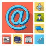 Mail and postman flat icons in set collection for design. Mail and equipment vector symbol stock web illustration. Mail and postman flat icons in set collection Royalty Free Stock Image