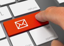 Mail pushing keyboard with finger 3d illustration. Mail pushing keyboard with finger 3d concept illustration Stock Photos