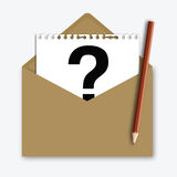 Mail with Question Mark on note paper Royalty Free Stock Photos