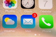 Mail Received Notification. BUCHAREST, ROMANIA - JUNE 07, 2014: Mail Received Notification On Apple iPhone 5S. The Electronic Mail Is One Of The Most Utilized Stock Photography