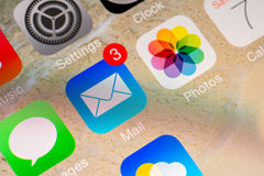 Mail Received Notification. BUCHAREST, ROMANIA - JUNE 07, 2014: Mail Received Notification On Apple iPhone 5S. The Electronic Mail Is One Of The Most Utilized Stock Image