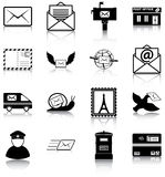 Mail. 16 mail related icons/ silhouettes Stock Photos