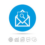 Mail search icon. Envelope symbol. Message sign. Mail navigation button. Copy files, chat speech bubble and chart web icons. Vector Stock Images