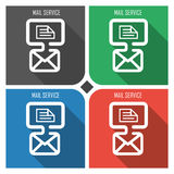 Mail service flat vector icon on colorful background. simple PC web icons eps8. Stock Photos