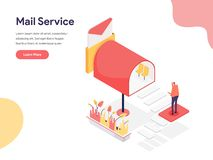 Mail Service Illustration Concept. Isometric design concept of web page design for website and mobile website.Vector illustration. EPS 10 vector illustration