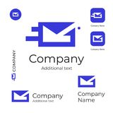 Mail Service Logo Modern Letter in Envelope Identity Brand Commercial and App Icon Symbol Concept Set Template. Vector Stock Photos