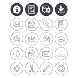 Mail services icons. Mail, clip and download. Information, download and report signs. Mail services icons. Send mail, paper clip and download arrow symbols Royalty Free Stock Photo