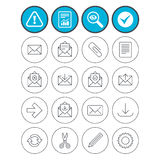 Mail services icons. Mail, clip and download. Report, check tick and attention signs. Mail services icons. Send mail, paper clip and download arrow symbols Stock Image