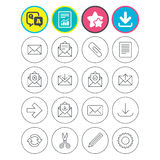 Mail services icons. Mail, clip and download. Report, download and star signs. Mail services icons. Send mail, paper clip and download arrow symbols. Scissors Royalty Free Stock Photography