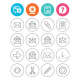 Mail services icons. Mail, clip and download. Mail services icons. Send mail, paper clip and download arrow symbols. Scissors, pencil and refresh thin outline Royalty Free Stock Image
