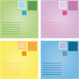 Mail Set. 4 cute postcards with colorful stamps Royalty Free Stock Image