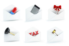 Mail set on a white background. 3D illustration Stock Image