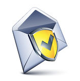 Mail and shield. Clipart illustration Stock Photography