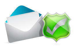Mail and shield of approval Stock Photo