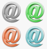 Mail at sign. 3d mail at sign icon in different colors royalty free illustration