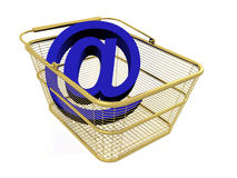 Mail sign in the basket Stock Photo