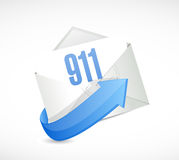 911 mail sign concept illustration design. Over white Stock Photography