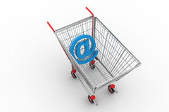 Mail sign in shopping cart Royalty Free Stock Photography