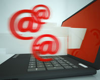 Mail Signs Leaving Laptop Showing Outgoing Messages Royalty Free Stock Photo