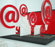 Mail Signs Leaving Laptop Showing Telecommunications Stock Photo