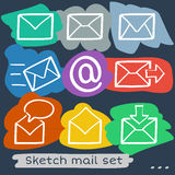 Mail sketch set Stock Image
