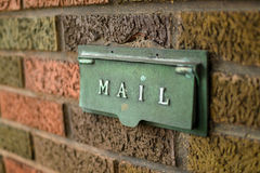 Mail Slot. Closeup view of an older-style mail chute Royalty Free Stock Photography