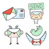 Mail and social media vector icons. Set of hand drawn doodle letters stickers Stock Image