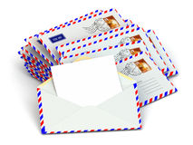 Mail. Stack of envelopes and empty letters. Stock Images