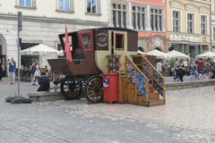 Mail in the stagecoach. In Krakow on the Market Square . Mail point for tourists Royalty Free Stock Photo