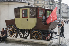 Mail in the stagecoach. In Krakow on the Market Square . Mail point for tourists Stock Photo