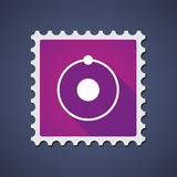 Mail stamp with an atom Royalty Free Stock Photo