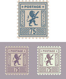 Mail Stamp with Vintage Royal Lion Royalty Free Stock Image