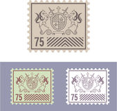 Mail Stamp with Vintage Royal Logo of Shield and Horses Royalty Free Stock Images