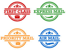 Mail Stamps. A set of four stamps offering and promoting different mailing services Royalty Free Stock Photography
