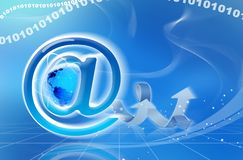 Mail Symbol. With trailing arrows and blue background Royalty Free Stock Image