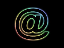 Mail symbol. Colourful mail symbol on black background Royalty Free Stock Images
