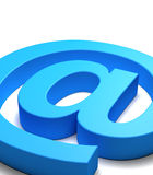 Mail symbol. Blue mail symbol seen close up, white background Royalty Free Stock Images