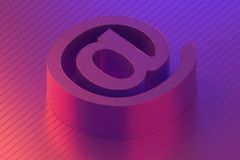 Mail symbol of contact us e-mail in colorful lighting, 3d rendering. Conceptual object stock illustration