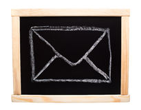 Mail symbol drawn on blackboard Royalty Free Stock Images