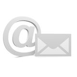 Mail. Symbol and envelope in grey color Stock Photography