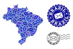 Mail Traffic Collage of Mosaic Map of Brazil and Distress Seals vector illustration