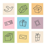 Mail transportation icons. On colorful background Vector Illustration