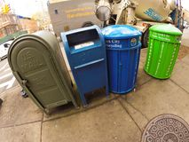 Mail and trash cans Stock Photos