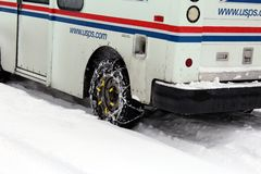 Mail truck. The mail continues to be delivered despite heavy western Washington snow Stock Image