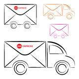 Mail truck. 24h express mail truck on illustration Stock Photo