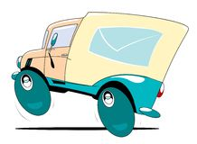 Mail Truck. The cartoon mail truck in action Stock Photography