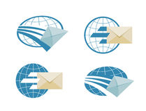 Mail vector logo design template. email or message. The flying envelope on a white background. vector illustration Stock Photo
