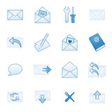 Mail web icons set 1, blue series. Vector web icons, business, finance, computers series Stock Photography