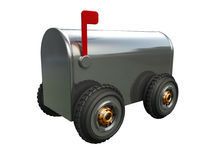 Mail on Wheels. A 3D chrome mail box on wheels placed on a white background Stock Images