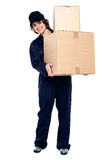Mail woman delivering parcel Royalty Free Stock Photography